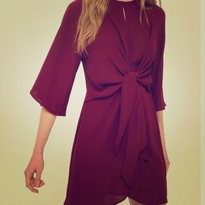 Rare Oxblood Front Knot Topshop Minidress